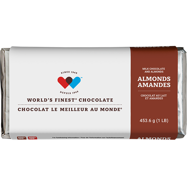 Milk Chocolate & Almond Bar 1lb - Peanut Free